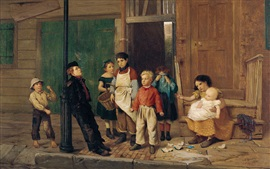 Preview wallpaper John George Brown, The Bully of the Neighborhood, oil painting