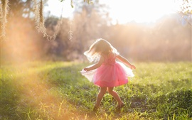 Joy girl, child, pink skirt, summer, sunshine