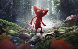Preview wallpaper Knitted, red cat, ladybug, forest, creative design