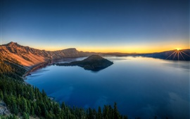Preview wallpaper Lake, island, crater, trees, dawn