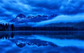 Preview wallpaper Lake, water reflection, mountains, night, blue style