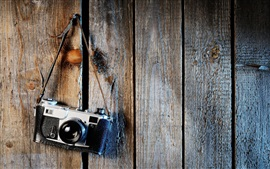 Leica SLR camera, wood board