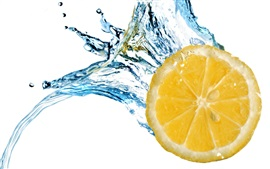 Preview wallpaper Lemon slice, water splash, white background