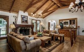 Sala de estar, sofá, mesa, cadeiras, lareira, piso de madeira