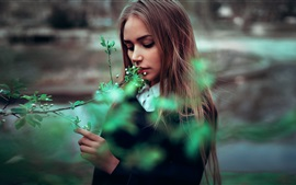 Preview wallpaper Long hair girl, spring, twigs, flowers