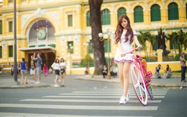 Preview wallpaper Lovely Asian girl, pink bike, street