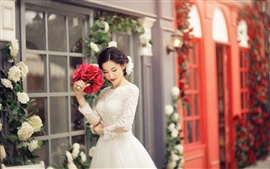 Lovely bride, beautiful dress, flowers