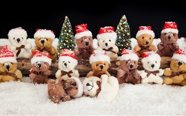 Preview wallpaper Many bear toys, snow, winter