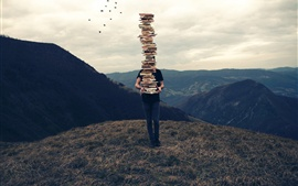 Preview wallpaper Many books, stacking, man, mountain top