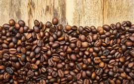 Preview wallpaper Many coffee beans, wood board