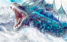 Preview wallpaper Marine monster, water splash, fantasy art