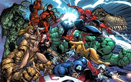 Preview wallpaper Marvel characters art drawing