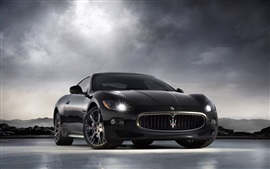 Maserati carro preto, nuvens, céu
