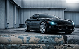 Preview wallpaper Maserati black car front view, headlight