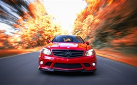 Preview wallpaper Mercedes-Benz C63 AMG red car front view, speed