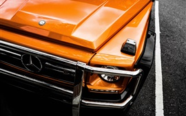Preview wallpaper Mercedes-Benz orange car front view, headlight