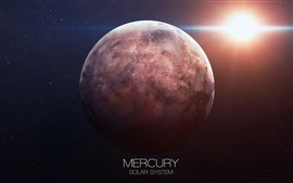Preview wallpaper Mercury, solar system, sun, space, stars