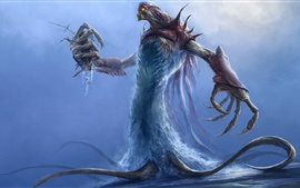 Preview wallpaper Monster, water, tentacles, claws, art picture