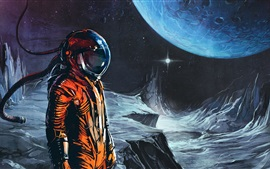 Preview wallpaper Moon, planet, astronaut, art picture