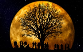 Moon, tree, people, silhouettes, night