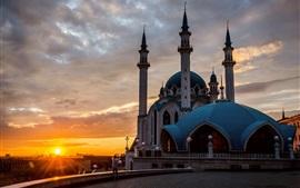 Mezquita, Kazan, Tatarstán, Rusia, puesta de sol
