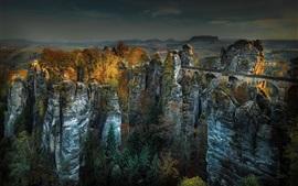 Montanha, rochas, ponte, árvores, outono