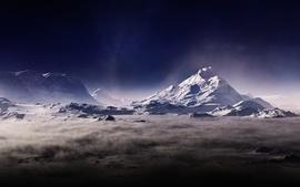 Montañas, niebla, neblina, polvo, oscuridad