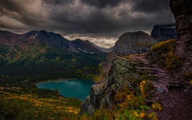 Montanhas, lago, nuvens, crepúsculo, paisagem natural