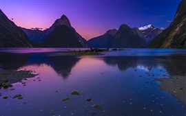 Preview wallpaper Mountains, lake, dusk, nature landscape