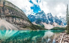 Preview wallpaper Mountains, lake, trees, snow peaks, clouds