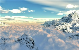 Preview wallpaper Mountains, snow, fog, clouds, sky, nature landscape