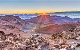 Preview wallpaper Mountains, sunrise, clouds, rocks, fog, dawn