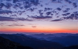 Montañas, puesta de sol, cielo, nubes, paisaje de la naturaleza