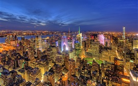 Preview wallpaper New York, USA, city night, buildings, lights, river, top view