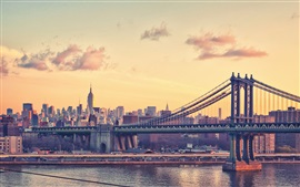 New York, city, bridge, skyscrapers, river, dusk