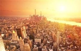 Nova York, pôr do sol, arranha-céus, rio, EUA
