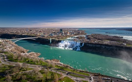 Preview wallpaper Niagara Falls, Canada, Ontario, bridge, river, city