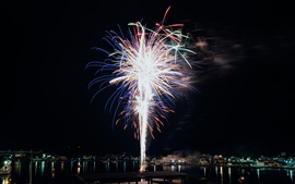 Night, city, fireworks, holiday, river