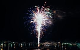 Noite, cidade, fogos de artifício, férias, rio