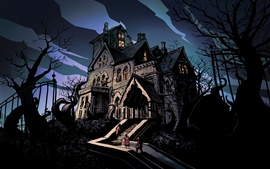 Preview wallpaper Night, gloomy, horror, house, trees, ladder, people, art drawing