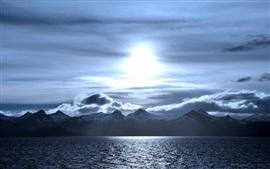 Preview wallpaper Night, mountains, sea, moon