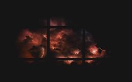 Nuit, tempête, éclair, nuages, fenêtre