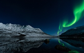 Preview wallpaper Northern lights, Norway, night, lake, stars, mountains
