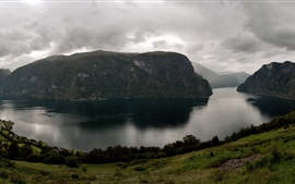 Preview wallpaper Norway, Aurlandsfjord, river, clouds, mountains