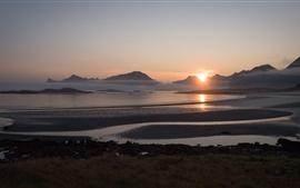 Norway, Yttersand Beach, fog, morning, mountains, sunrise