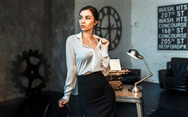 Preview wallpaper Office girl, typewriter, table lamp