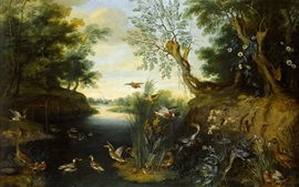 Oil painting, birds, trees, river, wild ducks