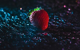 One strawberry, water drops, backlight