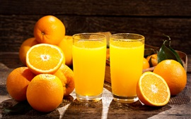 Preview wallpaper Oranges, juice, glass cups