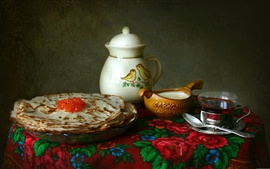 Preview wallpaper Pancakes, caviar, bottle, tea, still life